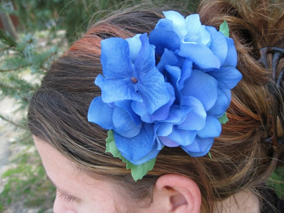 Blue Hydrangea Flower Hair Piece. Flower Girl, Bride, Bridesmaid. Wedding Hair Accessories. SPECIAL ORDERS WELCOME.