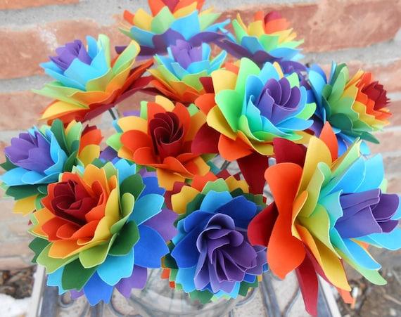 Dozen Rainbow Flowers, Mums & Dahlias, Paper Bouquet. Anniversary, Birthday, Centerpiece. CUSTOM ORDERS Welcome.