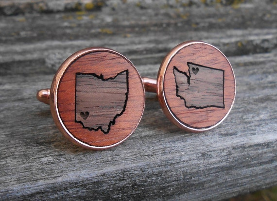 HIS & HERS State Cufflinks. Wood Inlay. Groom, Wedding, Groomsmen Gift, Dad, Anniversary, Birthday, Father of the Bride. Rose Gold, Silver