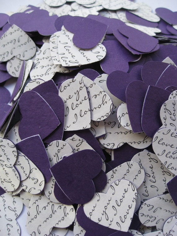 I Love You Confetti Hearts. 1 inch. Or CHOOSE Your COLORS. Custom Orders Welcome. Purple, Silver