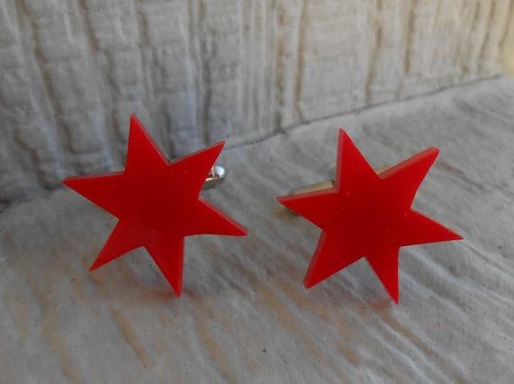 Red Star Cufflinks. Wedding, Men's, Groomsmen Gift, Dad. Silver Plated. Custom Orders Welcome.