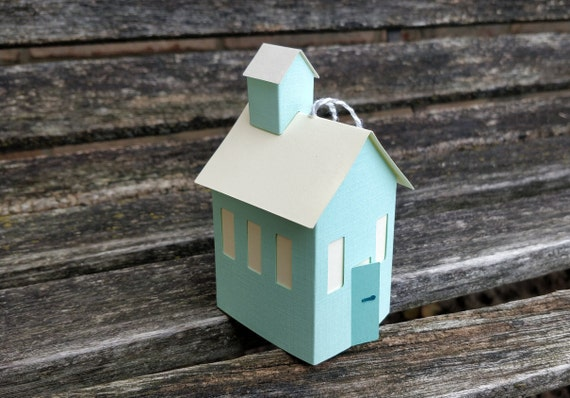 Paper School House Ornament. Holiday, Christmas Decoration.  Paper House Ornament