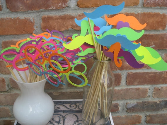 NEON Paper Mustache & Glasses Party Favors. Photo Prop. 60 Pieces. ANY COLOR Available. Custom Orders Welcome.