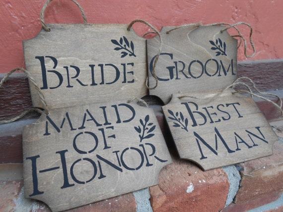 Rustic WEDDING SIGN SET. 4 Wood Signs. Chair, Wedding Decoration. Handpainted.