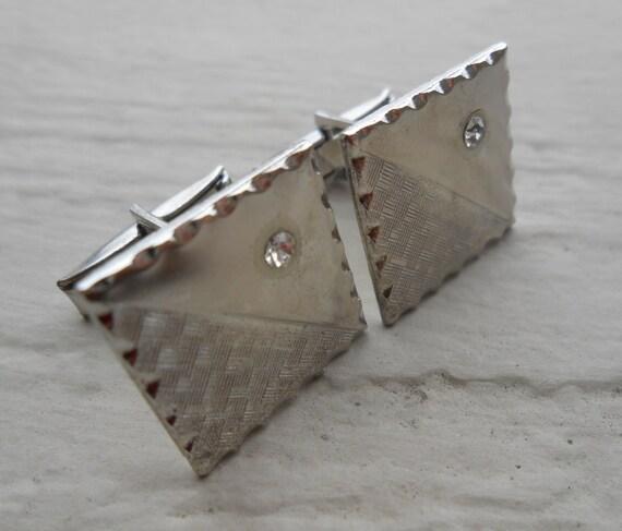 Vintage Silver Rhinestone Cufflinks.  Art Deco. Wedding, Men's, Groomsmen Gift, Dad, Valentines. Silver.