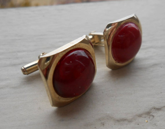 Vintage Red Glass Cufflinks. Gold. Wedding, Men's Christmas Gift, Dad. Art Nouveau