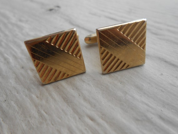 Vintage Gold Abstract Cufflinks. Wedding, Men's Christmas Gift, Dad.  Valentines, Groomsmen Gift.