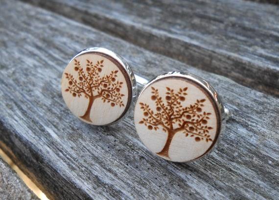 Apple Tree Cufflinks. Laser Engraved Wood. Wedding, Men's, Groomsmen Gift, Dad. Custom Orders Welcome. Tree of Life