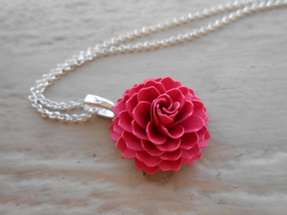 Dahlia paper flower necklace choose your color wedding etsy mightylinksfo