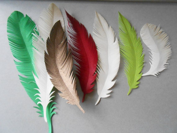 7 Paper Feathers, CHOOSE YOUR COLORS. Wedding, Escort Cards, Place Cards, Decoration, Gift. Unique, Rustic