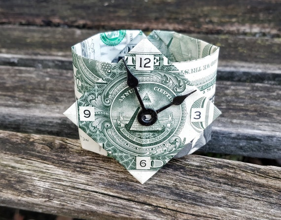Dollar Origami Watch. Fun Gift, Birthday, Gag Gift. Money. Custom Orders Welcome.
