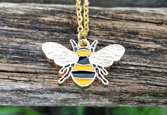 Bee Necklace. Gift For Mom, Anniversary Gift, Birthday, Bumblebee