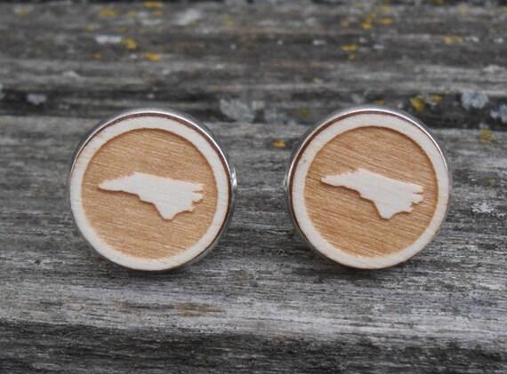 Wood STATE Cufflinks. NORTH CAROLINA, Laser Engraved. Wedding, Men's, Groomsmen Gift, Dad. Custom Orders Welcome. Unique Christmas Gift