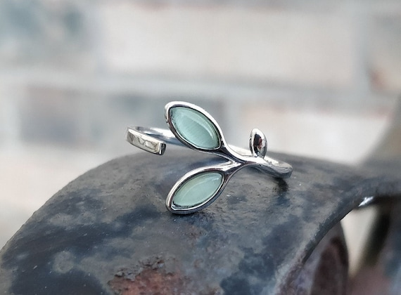 Green Leaf Ring. Sterling Silver. Gift For Anniversary, Birthday, Christmas, Gifts For Her.