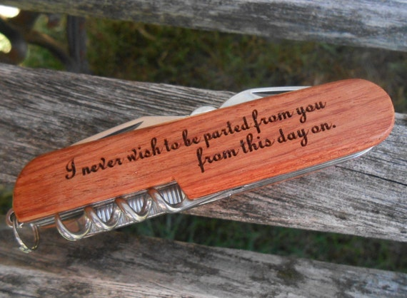 I Never Wish To Be Parted From You...Pocket Knife, Jane Austen, Mr. Darcy. Laser Engraved Wood. Wedding, Men's, Anniversary, Knives.