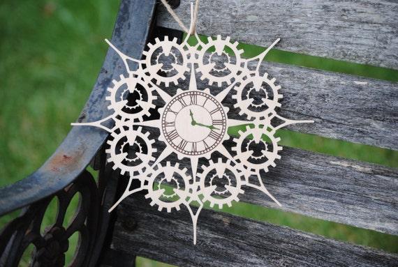 Steampunk Gear & Clock Ornament. Laser Cut. Christmas, Holiday Decoration, Gift. Mom, Dad