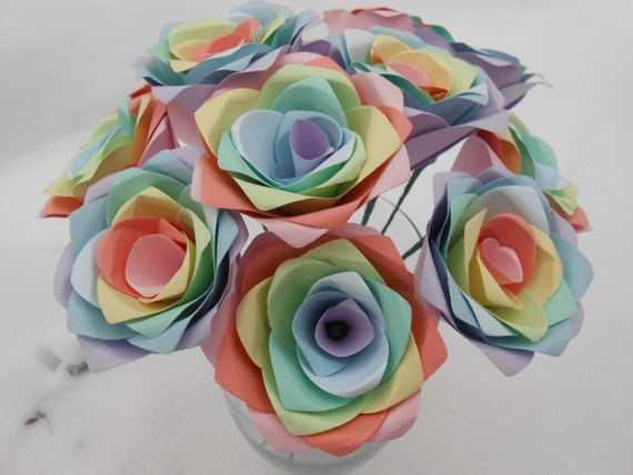 Dozen Pastel Paper Roses. Wedding, Easter, Spring, Mother's Day Gift. Unique. ANY COLOR Available. Custom Orders WELCOME.