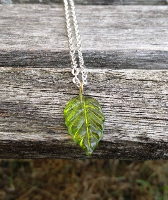 Green Leaf Necklace. Gift For Wedding, Bridesmaids, Anniversary, Birthday, Christmas.