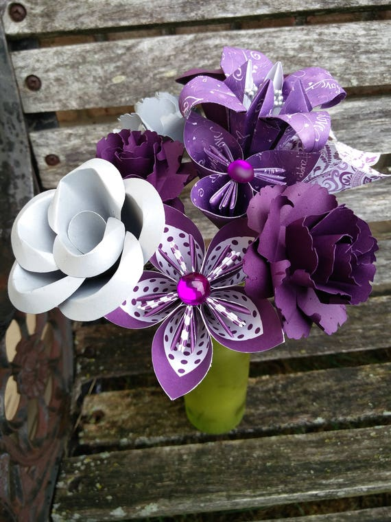 Purple & Silver Paper Flower Bouquet. Wedding, Anniversary, Centerpiece. Custom Orders Welcome.