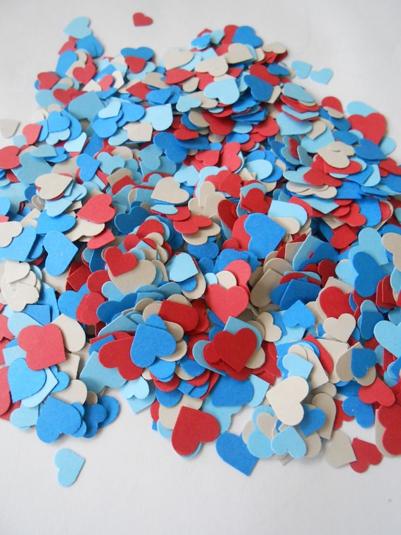 Over 2000 Mini Confetti Hearts. NAUTICAL MIX.  Red, Blue, & Grey. Weddings, Showers, Decorations. Any Colors Available.