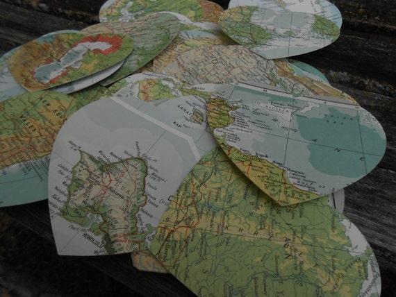"50 Vintage Map 3"" Hearts. Wedding Decor, Escort, Seating, Place Card, Tag, Favor. Travel Destination Wedding."