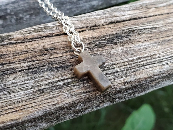 Petoskey Stone Cross Necklace. Fossilized Coral. Wedding, Christmas Gift, Anniversary Gift. Michigan