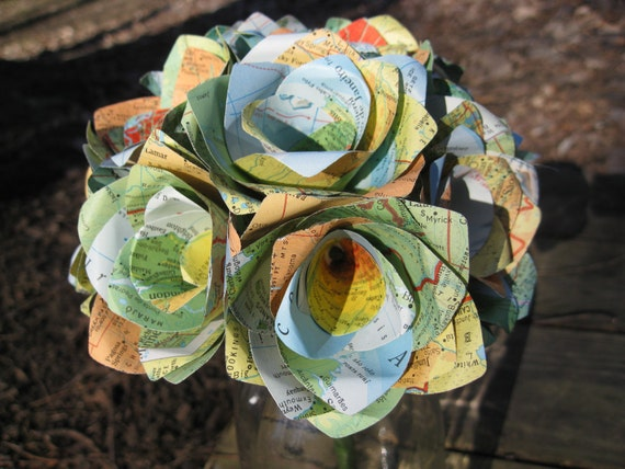 Half Dozen Vintage MAP Paper Roses. Handmade Bouquet. Anniversary, Birthday, Wedding, Home Decor
