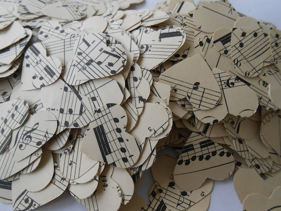 1000 Sheet Music Hearts, 1 inch. Wedding Decoration, Party, Shower. Hearts or Circles.