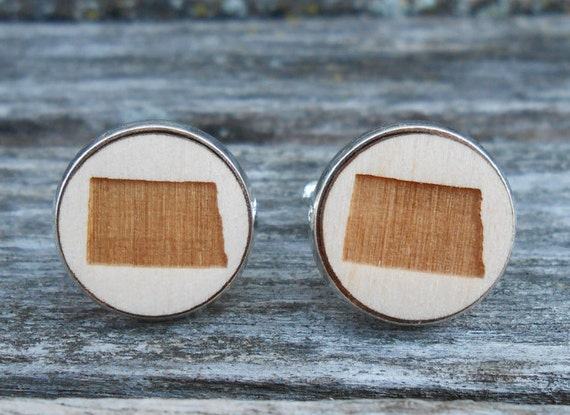 Wood STATE Cufflinks. NORTH DAKOTA. Laser Engraved. Wedding, Men's, Groomsmen Gift, Dad. Custom Orders Welcome. Fargo
