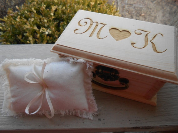Monogram Ring Box & Pillow. CHOOSE YOUR PILLOW Style! Engraved Letters. Wedding Accessories. Ring Bearer, Bridal. Chest.