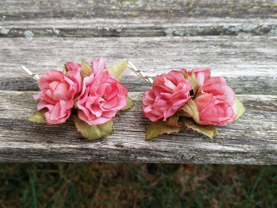 Pink Rose Hair Pieces, Set of Two. Perfect For A Bride, Flower Girl, Bridesmaid.  Wedding Hair Accessories. SPECIAL ORDERS Welcome.