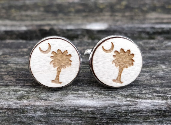 South Carolina State Flag Logo Cufflinks. Laser Engraved. Palm Tree, Moon. Wedding, Anniversary, Birthday, Christmas Gift, Dad