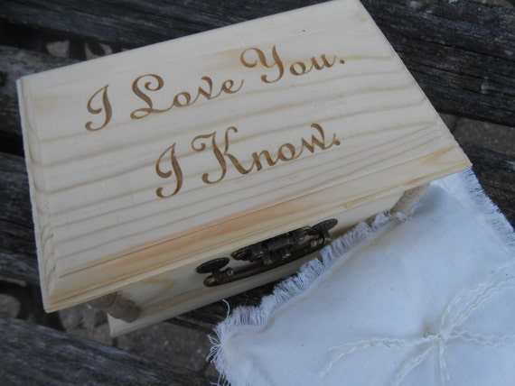 I LOVE You, I KNOW Ring Box & Pillow. Choose Your Pillow Style! Ring Bearer, Bridal. Chest.