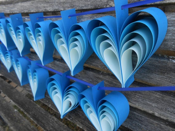 TWO Garlands Of BLUE HEARTS. 10 Hearts. Wedding, Shower Decoration, Home Decor. Custom Orders Welcome. Any Color Available.