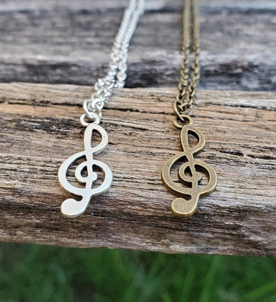 Treble Clef Necklace. CHOOSE YOUR COLOR. Gift For Mom, Wedding, Bridesmaids, Kids, Anniversary, Birthday, Christmas.
