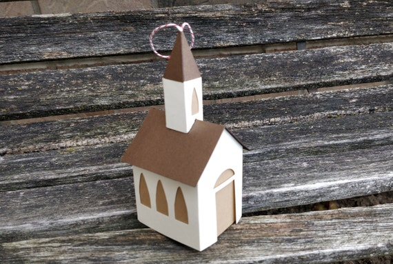 Church Paper Ornament. Holiday, Christmas Decoration.  Paper House Ornament