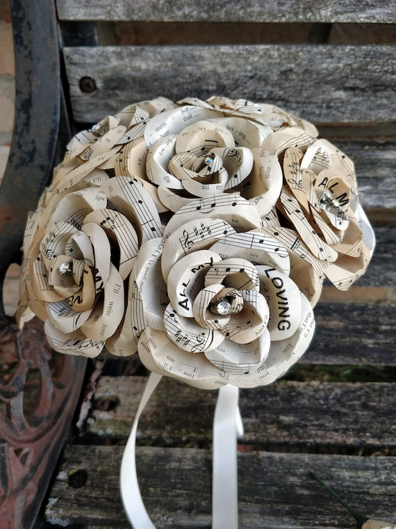 CHOOSE YOUR SONG Bridal Bouquet. Tea Stained Sheet Music Roses. Choose Your Song. Custom Orders Welcome.