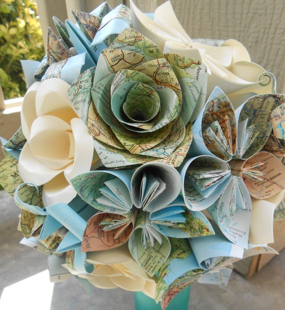 Custom MAP Paper Flower Wedding Bouquets. You Pick The Colors & Maps.  Anything Is Possible. Custom Orders Welcome