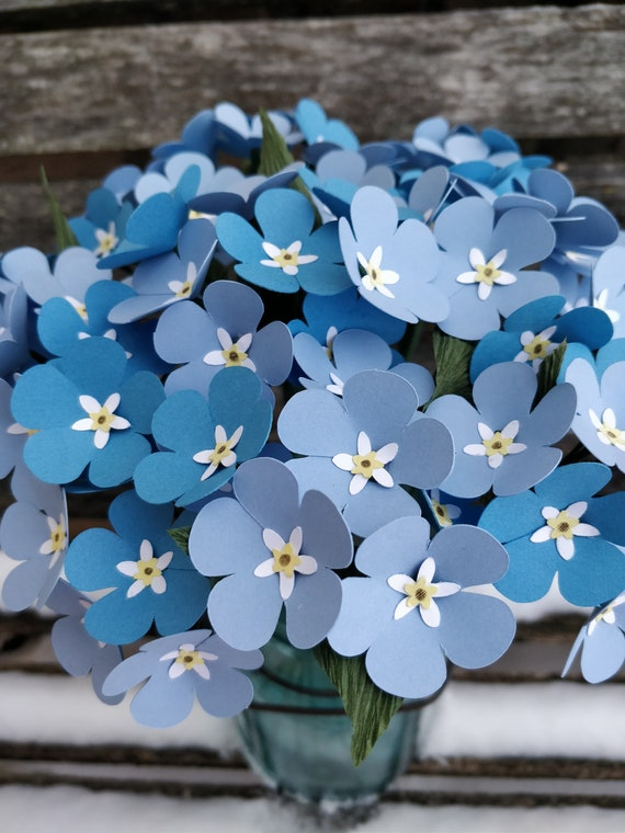 Forget Me Not Bouquet. CHOOSE YOUR COLORS.  Handmade Bouquet. Centerpiece, Gift, Paper Flower. Custom Orders Welcome.