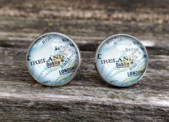 Vintage Ireland Map Cufflinks. Gift, Wedding, Groom, Birthday, Custom Orders Welcome. Eire, Ireland, UK