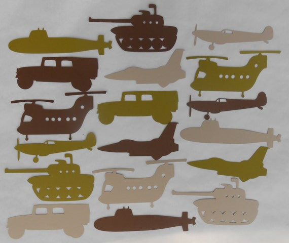36 Military Vehicles, 4 -10 inches. Cardstock. CHOOSE YOUR Colors AND Size. Custom Orders Welcome.