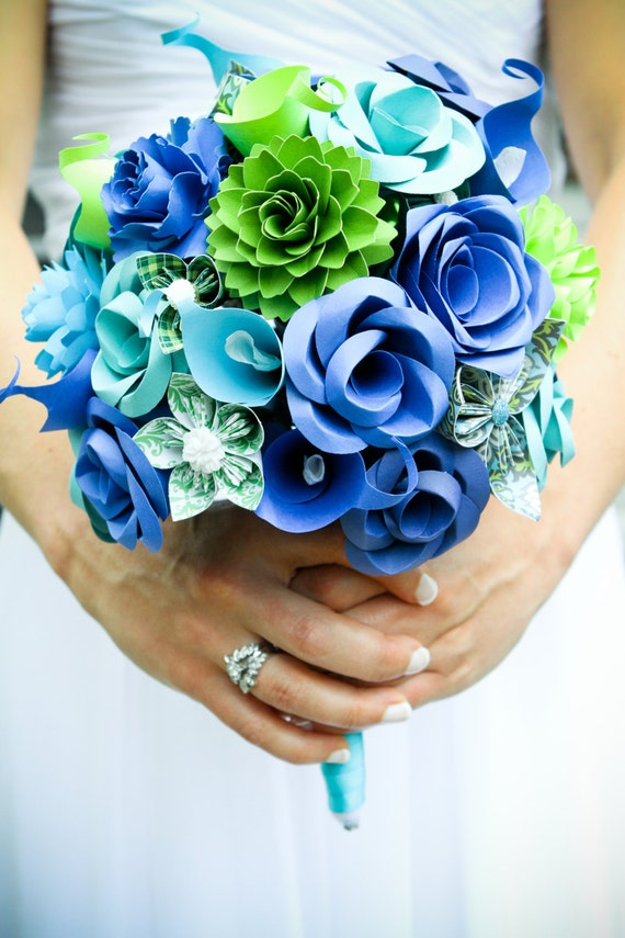 Custom Paper Flower Wedding Bouquet. You Pick The Colors, Papers, Books, Etc.  Anything Is Possible. Bridesmaid, Bridal. Boho