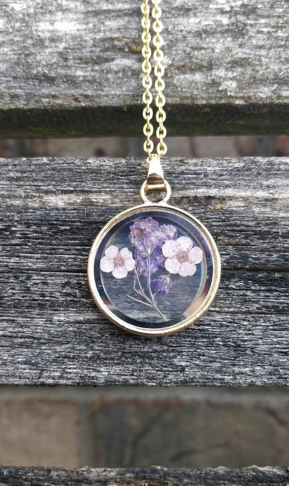 Lavender Flower Necklace. Real Pressed Flower Necklace. Gift For Wedding, Bridesmaids, Anniversary, Birthday, Mom. Dried Flower Necklace