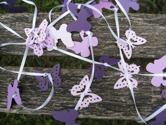 15 Foot Butterfly Garland In PURPLE, LAVENDER, IRIS, Etc. On White Ribbon. Wedding, Shower, Decoration. Custom Orders Welcome.