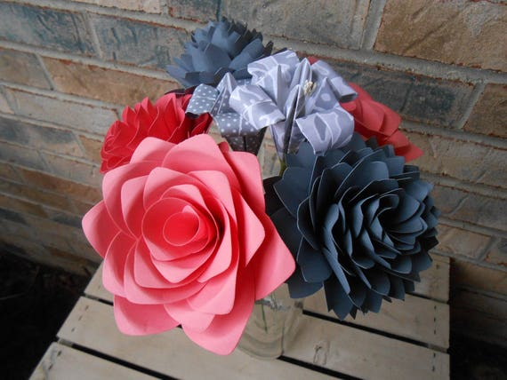 Custom Paper Flower Bouquet. CHOOSE YOUR COLORS. Centerpiece, Wedding, Paper Flower Bouquet, First Anniversary Gift, Mother's Day