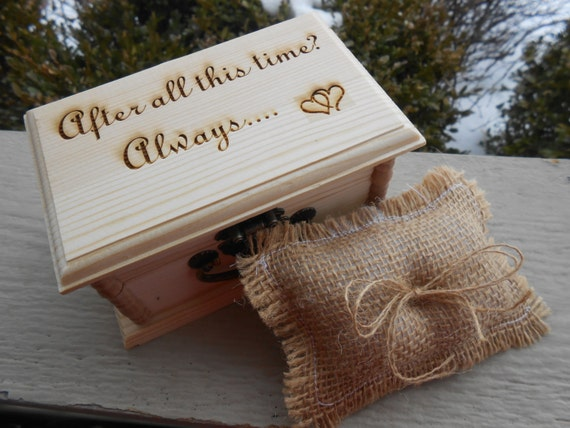 After All This Time? Always Ring Box & Pillow. CHOOSE YOUR PILLOW Style! Wedding Accessories. Ring Bearer, Bridal. Chest.