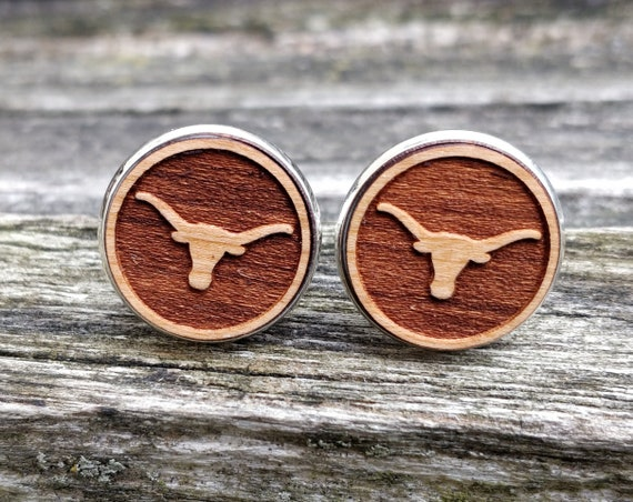 Longhorn Cattle Cufflinks. Anniversary Gifts, Groomsmen Gifts, Birthday Gifts.