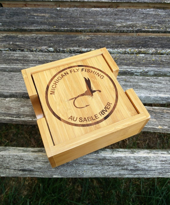 Personalized Coasters. Groomsmen Gift, Groom, Dad, Father's Day, Christmas, Rustic, Fifth Anniversary. Fly Fishing