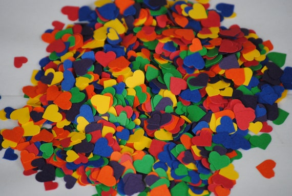Over 2000 Mini Confetti Hearts. RAINBOW MIX. Weddings, Showers, Decorations. ROYGBIV