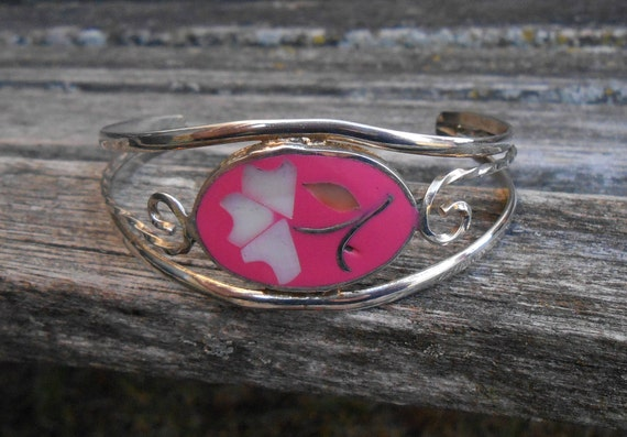Vintage Flower Cuff Bracelet. Pink, Alpaca Silver. Gift For Mom, Bridesmaid, Bride, Christmas, Birthday Gift, Valentine, Anniversary